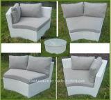 Giardino sintetico della mobilia esterna di vimini a metà intorno all'insieme del sofà del rattan