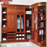 Armário de madeira dobro alto cinzelado luxo do Wardrobe com gavetas (GSP17-025)