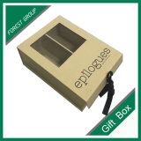 Caixa de presente de papel luxuosa feita sob encomenda por atacado com indicador do PVC