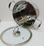 Нержавеющая сталь Saucepot/бак супа с дном индукции и крышкой стекла