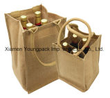 Venda Por Atacado Bulk Promocional Custom Printed Jute Single Bottle Wine Tote Bags