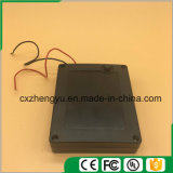 4AA impermeabilizan el sostenedor de batería con los terminales de componente, la cubierta y el interruptor rojos/negros de alambre