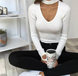 2016 Hot Selling Long Sleeve Hanging Neck Slim T-Shirts (80026)