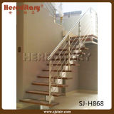 Escalera espiral de roble de la pisada interior de madera con el acero inoxidable Raillling (SJ-3008)