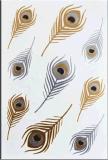 Plumas de plata del oro etiqueta engomada temporal del tatuaje del arte de la etiqueta engomada del tatuaje
