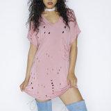 Robe creuse occasionnelle de T-shirt de V-Collet de loisirs de femmes de mode