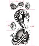 Etiqueta engomada temporal impermeable del tatuaje del diseño de la serpiente de la cobra