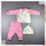 A roupa recém-nascida macia de Handfeel da roupa do bebê da impressão da listra ajustou-se