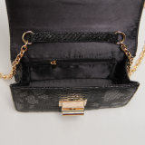 Black Serpentine Metal Rotary Buckle PU Designer Handbag (A015)