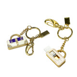 Movimentação luxuosa de cristal do flash do USB do saco de mão de Keychain da jóia