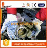 PVC Knit шнура полиэфира хлопка Bleach голубой ставит точки обе стороны работая перчатка Dkp226 безопасности