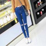 Джинсыы джинсовой ткани высокого шкафута повелительниц способа OEM Stretchy тощие