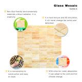 切断のタイルの建築材料は販売ベージュカラーガラスのモザイクを広げる