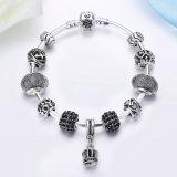 Mulheres DIY Jóias Vintage Crown Pendant & Alta Qualidade Black Murano Beads Bracelets