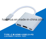 Aluminium 4 Ports USB3.1 Type C Hub avec fonction Pd (Power Delivery)