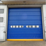 Puerta de alta velocidad del garage de la persiana enrrollable del PVC de la recuperación auto del uno mismo de la cremallera