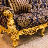Sofá de madera de los muebles de la sala de estar del oro real fijado para el pasillo del hotel