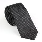 Le polyester en soie de 100% pointille la cravate tissée florale (NT-025)