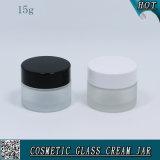 vaso della crema di vetro glassato di 15ml 15g con la protezione di plastica