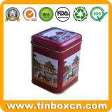 Caja de té cuadrada de metal para envases de comida de hojalata