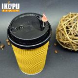 Taza de papel del café caliente de la ondulación