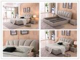 2017 modernes Shunde Schlafzimmer-Möbel-Leder-weiches Bett mit Headboard
