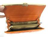 Pochette en cuir brillante d'unité centrale de mode avec le modèle de bâti en métal de guindineau