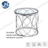 """스테인리스 서리로 덥 유리 18.75 """" 높은 X 40 """" 넓은 X 40 """" 깊은 Jk-A1007e를 가진 6각형 탁자"""