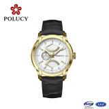 卸し売り高品質亜鉛合金の人の本革の水晶腕時計