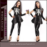 Trajes adultos de esqueleto de Cosplay Playsuit do crânio do partido de Halloween (TDD80845-2)