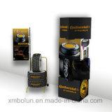 Surgir el soporte de visualización de la cartulina para los neumáticos