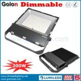 Os lúmens elevados 110lm/W 200W ao ar livre do bom preço escurecem o projector do diodo emissor de luz de Dimmalbe