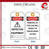 Escritura de la etiqueta material de la etiqueta del cierre del PVC con lenguaje inglés