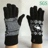 Guantes rayados hechos punto de acrílico del invierno de los guantes del Knit de la pantalla táctil de los guantes del poliester de los muchachos de las muchachas de la manera del invierno en muestra libre
