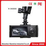 Carro duplo DVR X3000 da lente com registador e G-Sensor do GPS