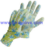 Перчатка сада работая, перчатка безопасности, цветок напечатала перчатку