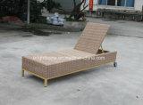 Lit en osier extérieur de salon de Sun de cabriolet de meubles de patio de rotin (BM-573)