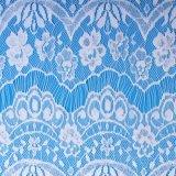 Tela blanca del cordón de la boda del telar jacquar de la alta calidad