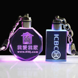 中心Shape Crystal Keychain、GiftsのためのLED Light Glass Keychain