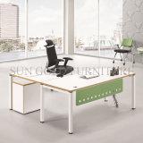 Hölzernes Büro-Schreibtisch-Set gebogener Schreibtisch mit seitlichem Tisch-Bücherschrank (SZ-ODT614)