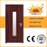 Puerta de cristal de madera interior del MDF del PVC de la ciudad de Sun (SC-P125)