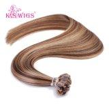 Cheveux humains brésiliens P4-27# de Remy de prolongation de cheveux d'ongle de cheveux de bout des prix d'escompte de perruques de K.S U