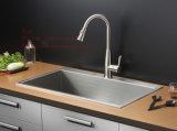 Bassin de cuisine fabriqué à la main de cuvette simple de support de dessus d'acier inoxydable