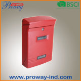 Roter Edelstahl-an der Wand befestigte im Freienmailbox