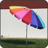 Regenbogen-Strand-Regenschirm-Hochleistungsentwurf des Riese-8 ' umfaßt Sand-Anker u. trägt Beutel