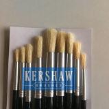Kunstenaar Brush (bleekt PAINTING BRUSH ROUND HEAD 9-PCs ARTIST SET, wit varkenshaar en houten handvat)