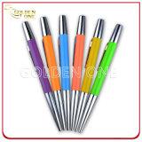 Penna di sfera poco costosa di gomma resa personale promozione del metallo