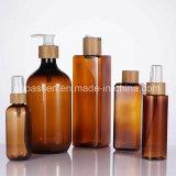 Bernsteinfarbiges Haustier-kosmetische Plastikflasche mit Bambusschutzkappen-Pumpe (PPC-BS-032)