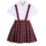 Chemise de coton et uniforme scolaire blancs en gros de jupe d'écossais