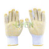 Gant de tricot en coton naturel / poli polyester de 700g, noir en PVC à un côté (D16-H2)